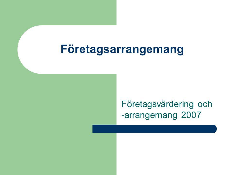 Företagsarrangemang Företagsvärdering och -arrangemang 2007