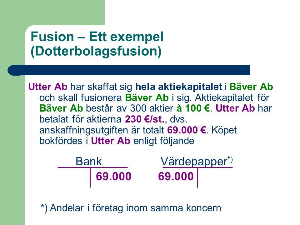 Fusion – Ett exempel (Dotterbolagsfusion) Utter Ab har skaffat sig hela aktiekapitalet i Bäver Ab och skall fusionera Bäver Ab i sig. Aktiekapitalet f