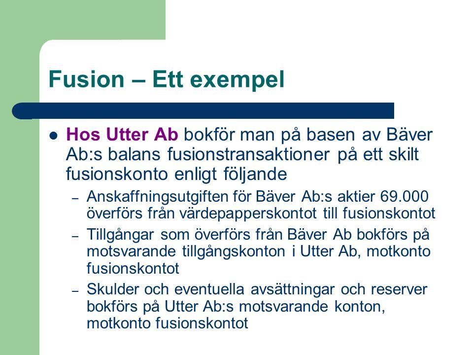 Fusion – Ett exempel Hos Utter Ab bokför man på basen av Bäver Ab:s balans fusionstransaktioner på ett skilt fusionskonto enligt följande – Anskaffnin
