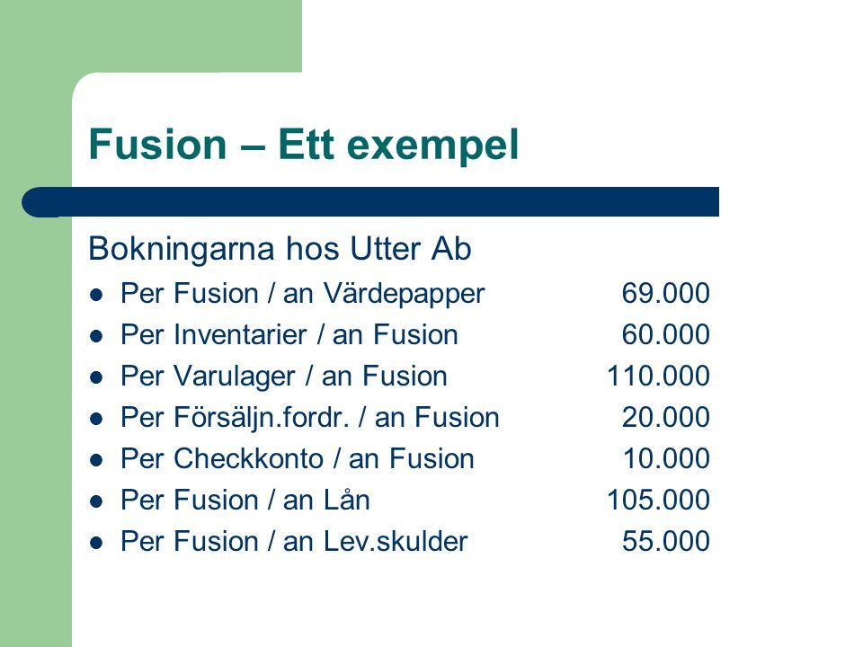 Fusion – Ett exempel Bokningarna hos Utter Ab Per Fusion / an Värdepapper 69.000 Per Inventarier / an Fusion 60.000 Per Varulager / an Fusion110.000 P
