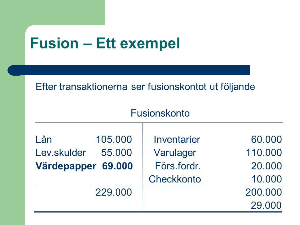 Fusion – Ett exempel Efter transaktionerna ser fusionskontot ut följande Fusionskonto Lån105.000 Inventarier 60.000 Lev.skulder 55.000 Varulager110.00