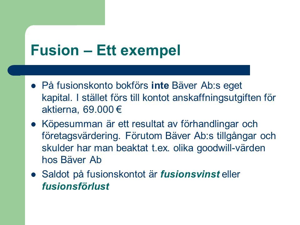 Fusion – Ett exempel På fusionskonto bokförs inte Bäver Ab:s eget kapital. I stället förs till kontot anskaffningsutgiften för aktierna, 69.000 € Köpe