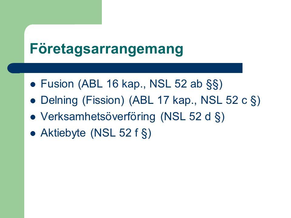 Företagsarrangemang Fusion (ABL 16 kap., NSL 52 ab §§) Delning (Fission) (ABL 17 kap., NSL 52 c §) Verksamhetsöverföring (NSL 52 d §) Aktiebyte (NSL 5