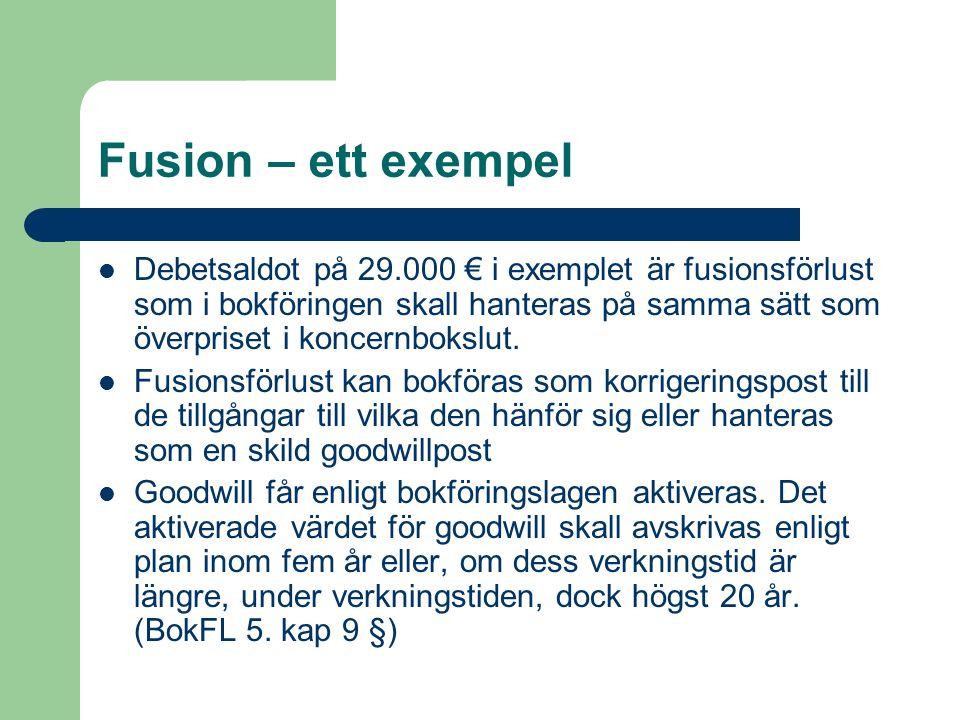Fusion – ett exempel Debetsaldot på 29.000 € i exemplet är fusionsförlust som i bokföringen skall hanteras på samma sätt som överpriset i koncernboksl