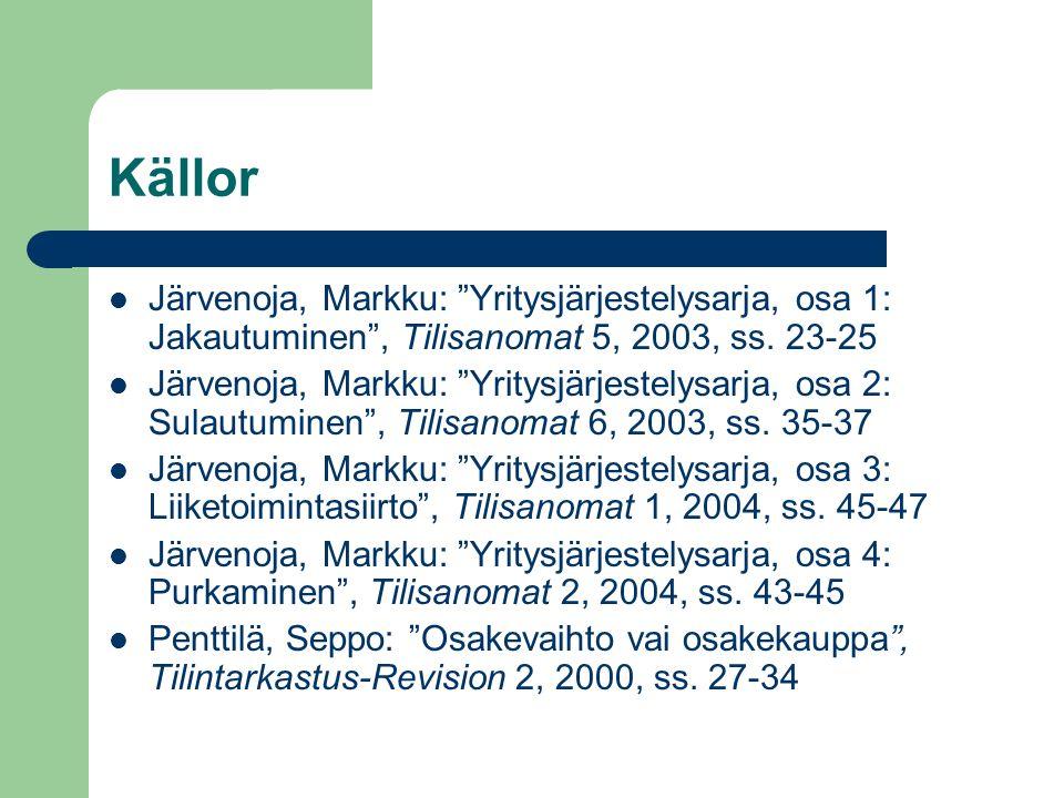 """Källor Järvenoja, Markku: """"Yritysjärjestelysarja, osa 1: Jakautuminen"""", Tilisanomat 5, 2003, ss. 23-25 Järvenoja, Markku: """"Yritysjärjestelysarja, osa"""