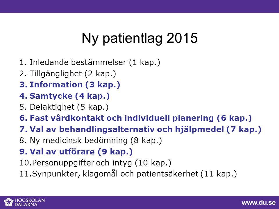 Ny patientlag 2015 1.Inledande bestämmelser (1 kap.) 2.Tillgänglighet (2 kap.) 3.Information (3 kap.) 4.Samtycke (4 kap.) 5.Delaktighet (5 kap.) 6.Fas