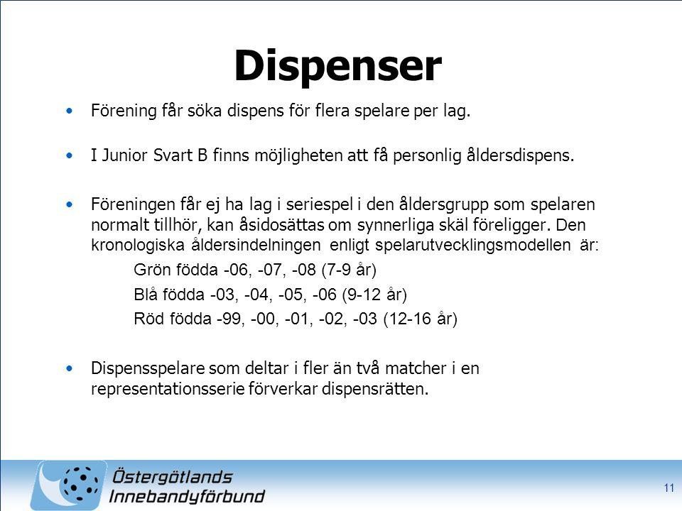 Dispenser Förening får söka dispens för flera spelare per lag. I Junior Svart B finns möjligheten att få personlig åldersdispens. Föreningen får ej ha
