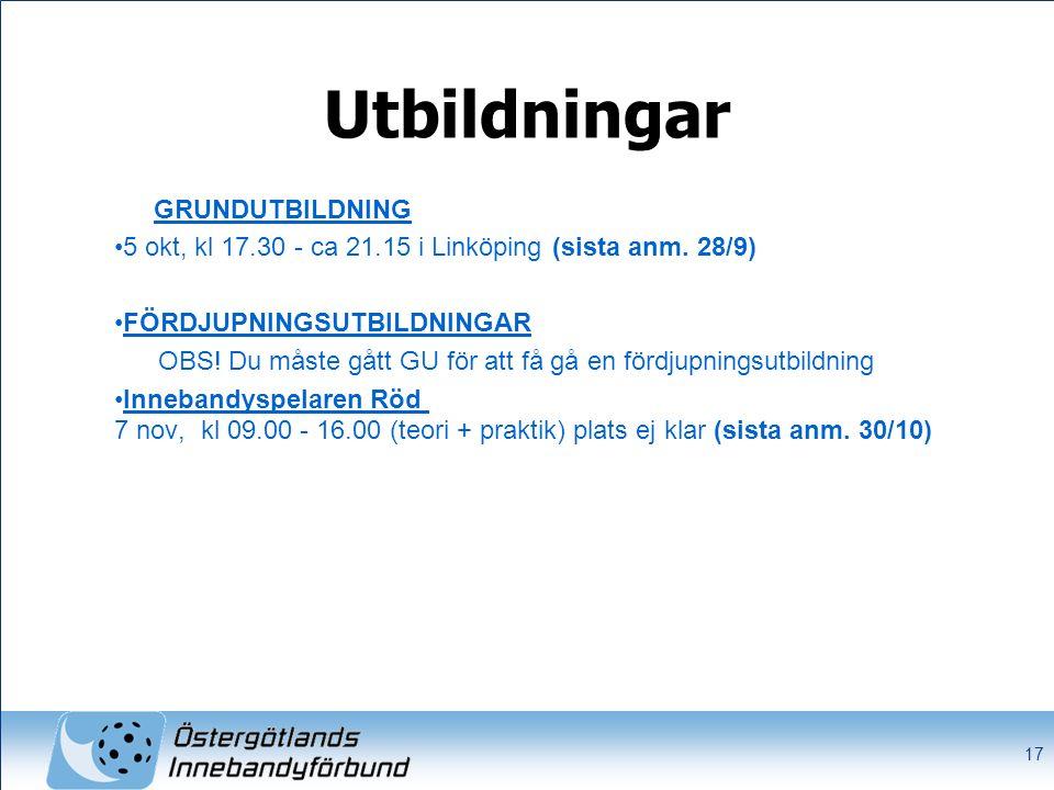 Utbildningar GRUNDUTBILDNING 5 okt, kl 17.30 - ca 21.15 i Linköping (sista anm. 28/9) FÖRDJUPNINGSUTBILDNINGAR OBS! Du måste gått GU för att få gå en