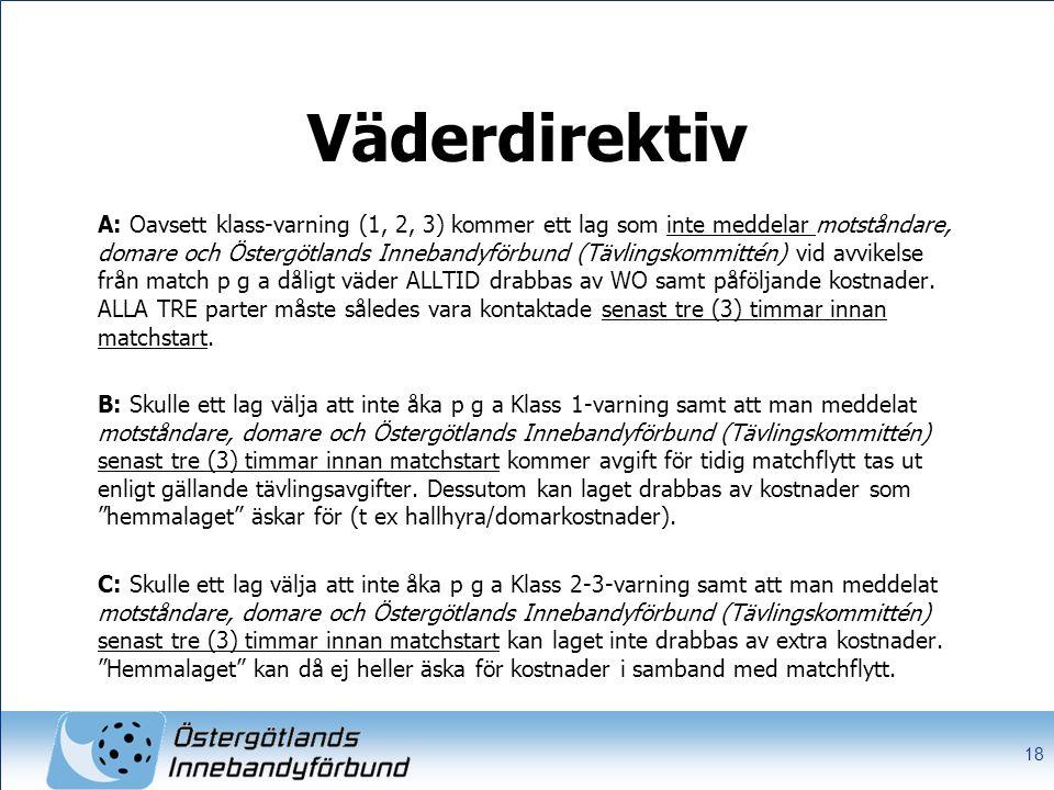 Väderdirektiv A: Oavsett klass-varning (1, 2, 3) kommer ett lag som inte meddelar motståndare, domare och Östergötlands Innebandyförbund (Tävlingskommittén) vid avvikelse från match p g a dåligt väder ALLTID drabbas av WO samt påföljande kostnader.