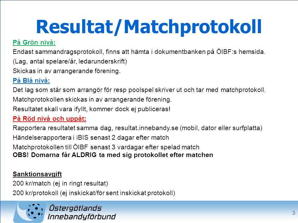 3 Resultat/Matchprotokoll På Grön nivå: Endast sammandragsprotokoll, finns att hämta i dokumentbanken på ÖIBF:s hemsida. (Lag, antal spelare/år, ledar