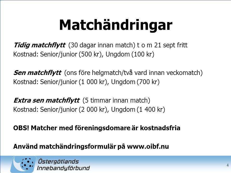 Matchändringar Tidig matchflytt (30 dagar innan match) t o m 21 sept fritt Kostnad: Senior/junior (500 kr), Ungdom (100 kr) Sen matchflytt (ons före helgmatch/två vard innan veckomatch) Kostnad: Senior/junior (1 000 kr), Ungdom (700 kr) Extra sen matchflytt (5 timmar innan match) Kostnad: Senior/junior (2 000 kr), Ungdom (1 400 kr) OBS.