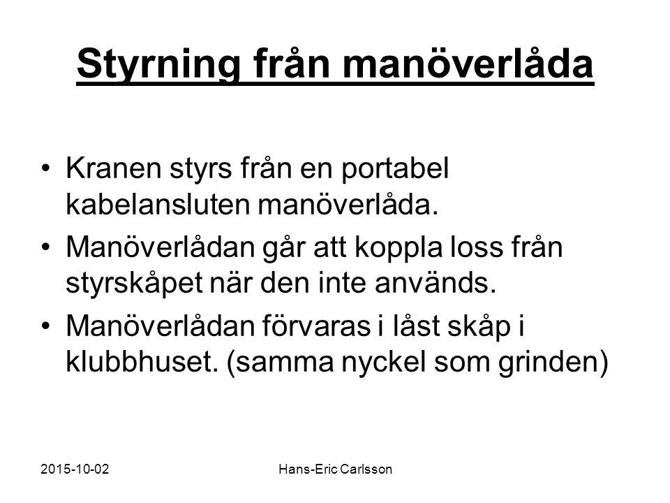 2015-10-02Hans-Eric Carlsson Styrning från manöverlåda Kranen styrs från en portabel kabelansluten manöverlåda.