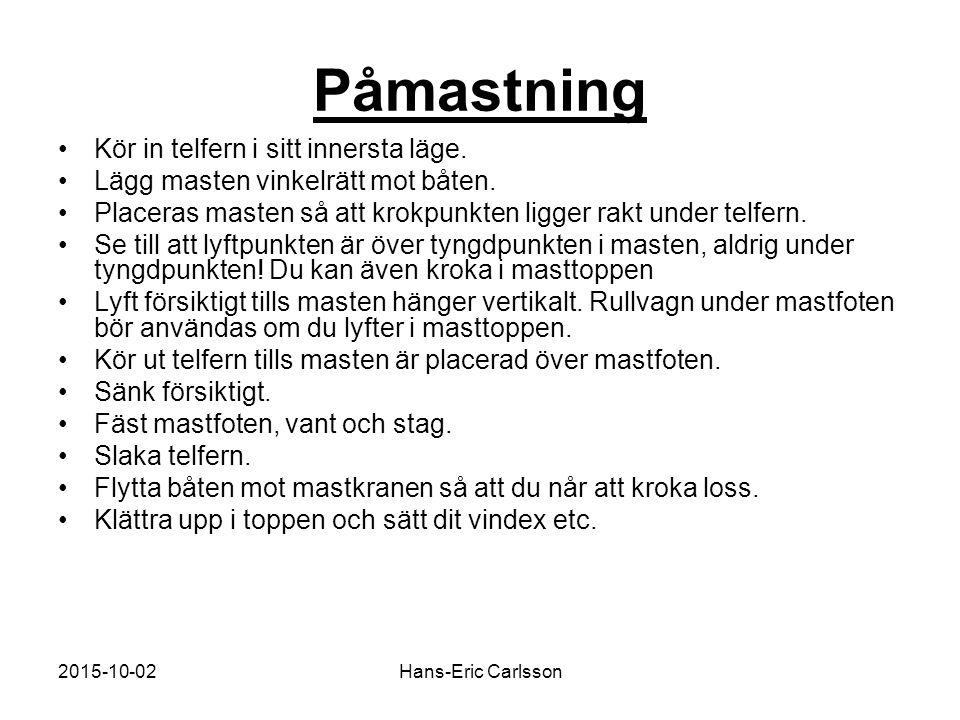2015-10-02Hans-Eric Carlsson Påmastning Kör in telfern i sitt innersta läge. Lägg masten vinkelrätt mot båten. Placeras masten så att krokpunkten ligg