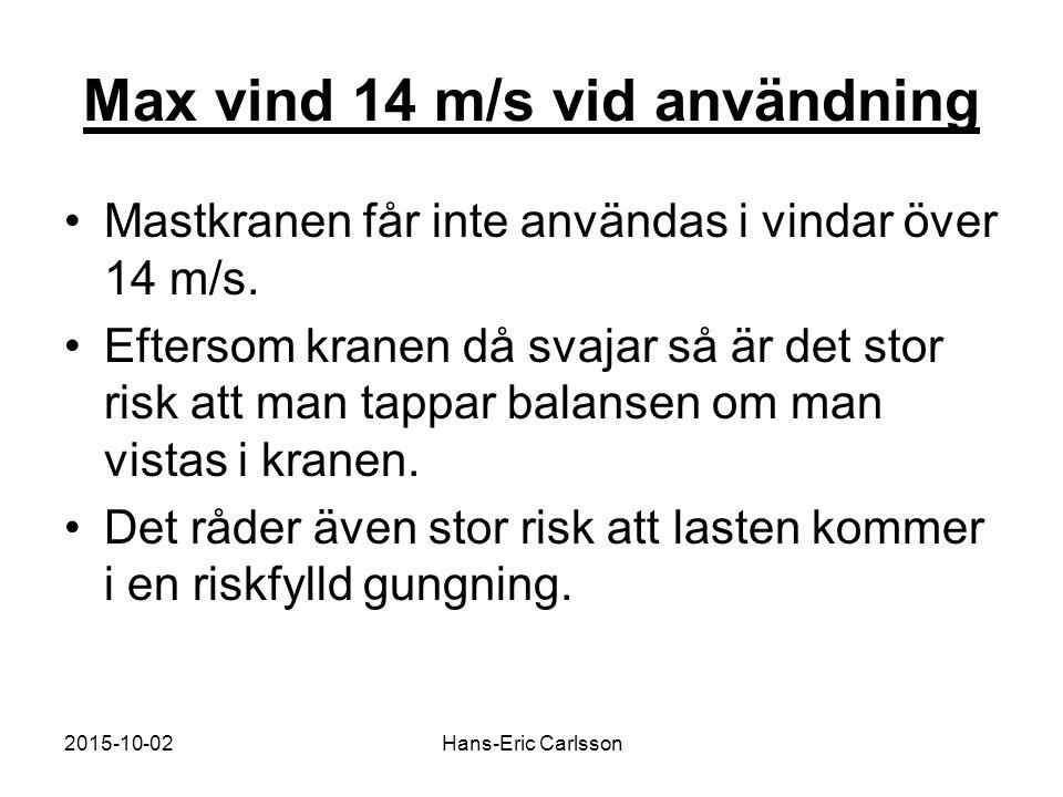 2015-10-02Hans-Eric Carlsson Max vind 14 m/s vid användning Mastkranen får inte användas i vindar över 14 m/s. Eftersom kranen då svajar så är det sto