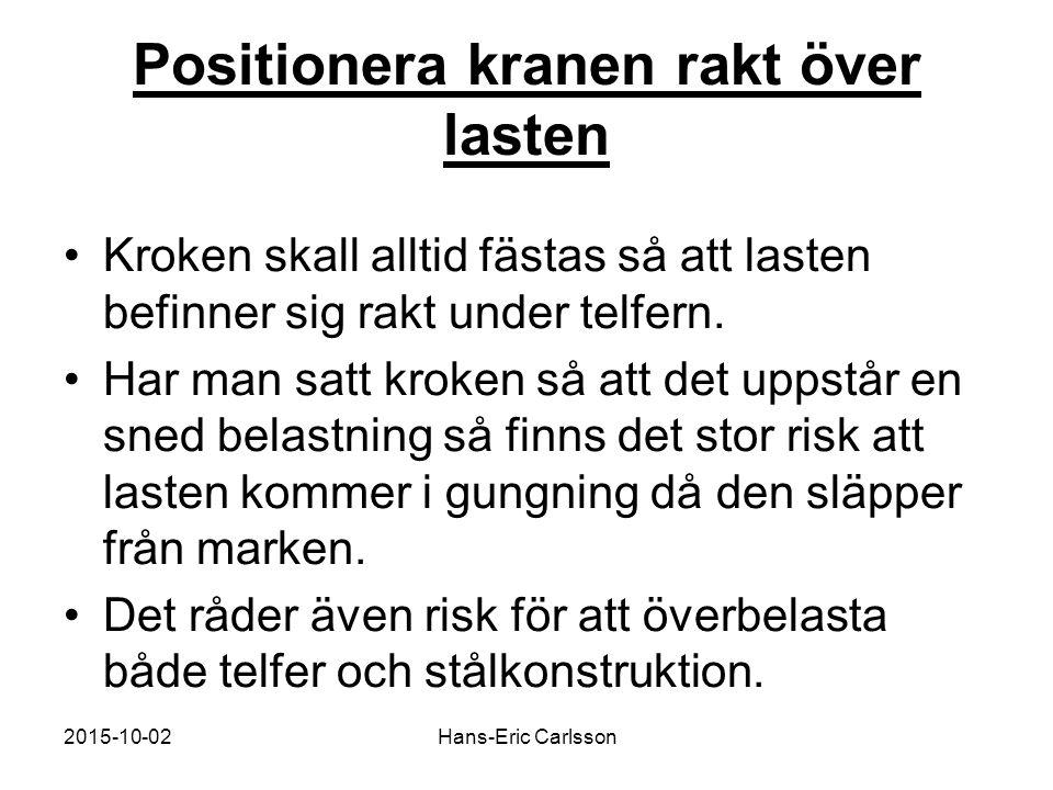 2015-10-02Hans-Eric Carlsson Positionera kranen rakt över lasten Kroken skall alltid fästas så att lasten befinner sig rakt under telfern. Har man sat
