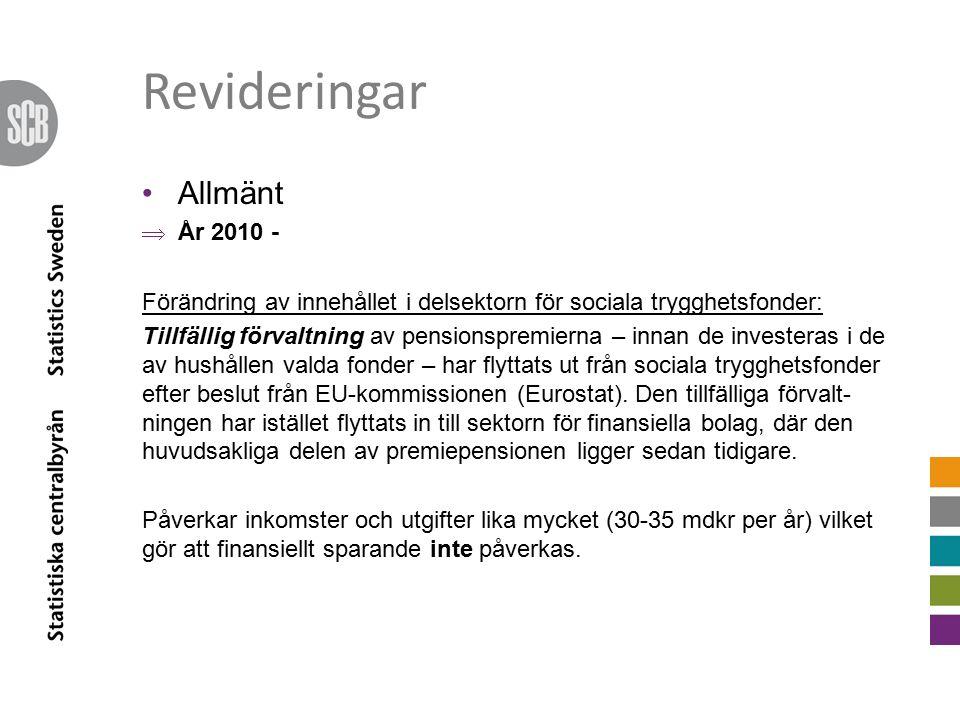 Revideringar offentlig förvaltning År 2011-2013  Marginellt, cirka +/- 0,3 mdkr per år År 2014  Helår 2014 upp med 7,7 mdkrTill -67,0 mdkr Till följd av bl.a.
