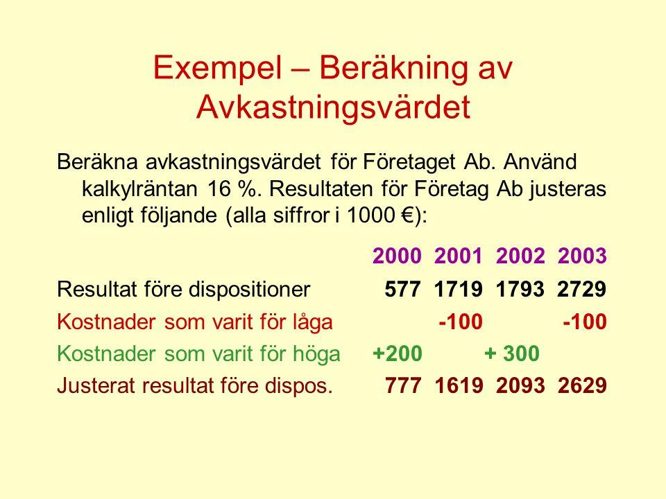 Exempel – Beräkning av Avkastningsvärdet Beräkna avkastningsvärdet för Företaget Ab. Använd kalkylräntan 16 %. Resultaten för Företag Ab justeras enli