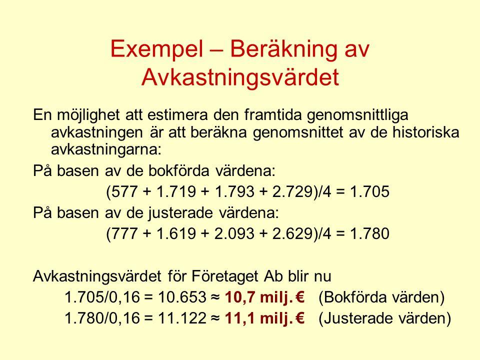 Exempel – Beräkning av Avkastningsvärdet En möjlighet att estimera den framtida genomsnittliga avkastningen är att beräkna genomsnittet av de historis