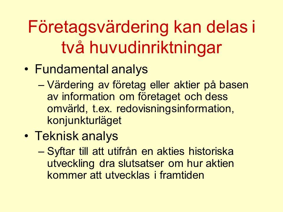 Företagsvärdering kan delas i två huvudinriktningar Fundamental analys –Värdering av företag eller aktier på basen av information om företaget och des