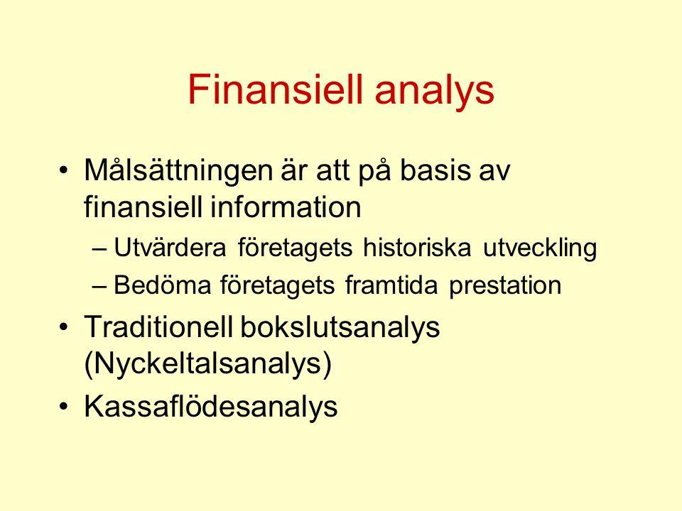 Finansiell analys Målsättningen är att på basis av finansiell information –Utvärdera företagets historiska utveckling –Bedöma företagets framtida pres