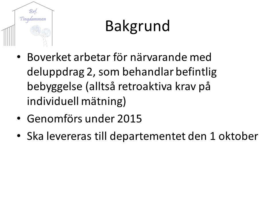 Bakgrund Boverket arbetar för närvarande med deluppdrag 2, som behandlar befintlig bebyggelse (alltså retroaktiva krav på individuell mätning) Genomförs under 2015 Ska levereras till departementet den 1 oktober