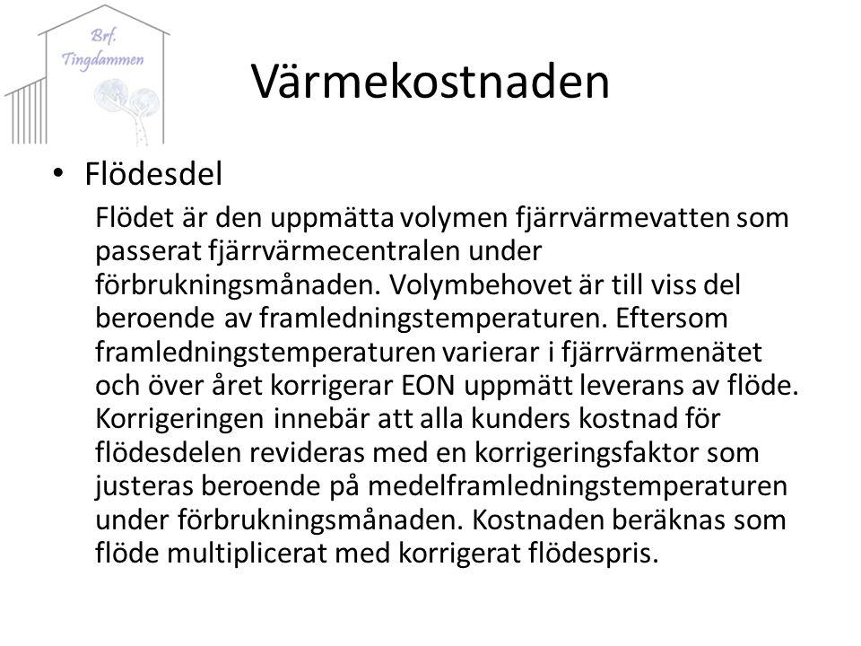 Värmekostnaden Flödesdel Flödet är den uppmätta volymen fjärrvärmevatten som passerat fjärrvärmecentralen under förbrukningsmånaden.