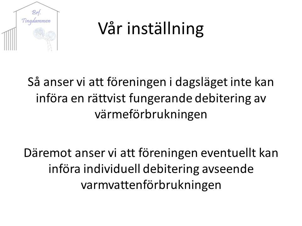 Vår inställning Så anser vi att föreningen i dagsläget inte kan införa en rättvist fungerande debitering av värmeförbrukningen Däremot anser vi att föreningen eventuellt kan införa individuell debitering avseende varmvattenförbrukningen