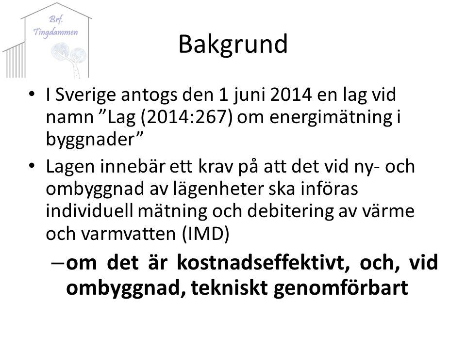 Bakgrund I Sverige antogs den 1 juni 2014 en lag vid namn Lag (2014:267) om energimätning i byggnader Lagen innebär ett krav på att det vid ny- och ombyggnad av lägenheter ska införas individuell mätning och debitering av värme och varmvatten (IMD) – om det är kostnadseffektivt, och, vid ombyggnad, tekniskt genomförbart
