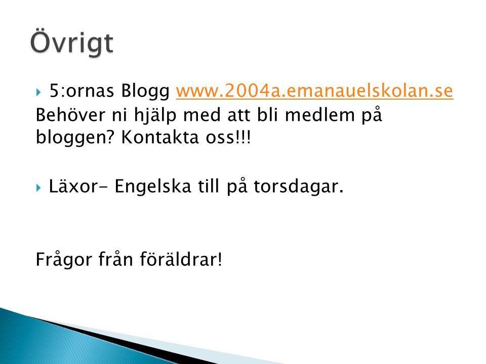  5:ornas Blogg www.2004a.emanauelskolan.sewww.2004a.emanauelskolan.se Behöver ni hjälp med att bli medlem på bloggen.