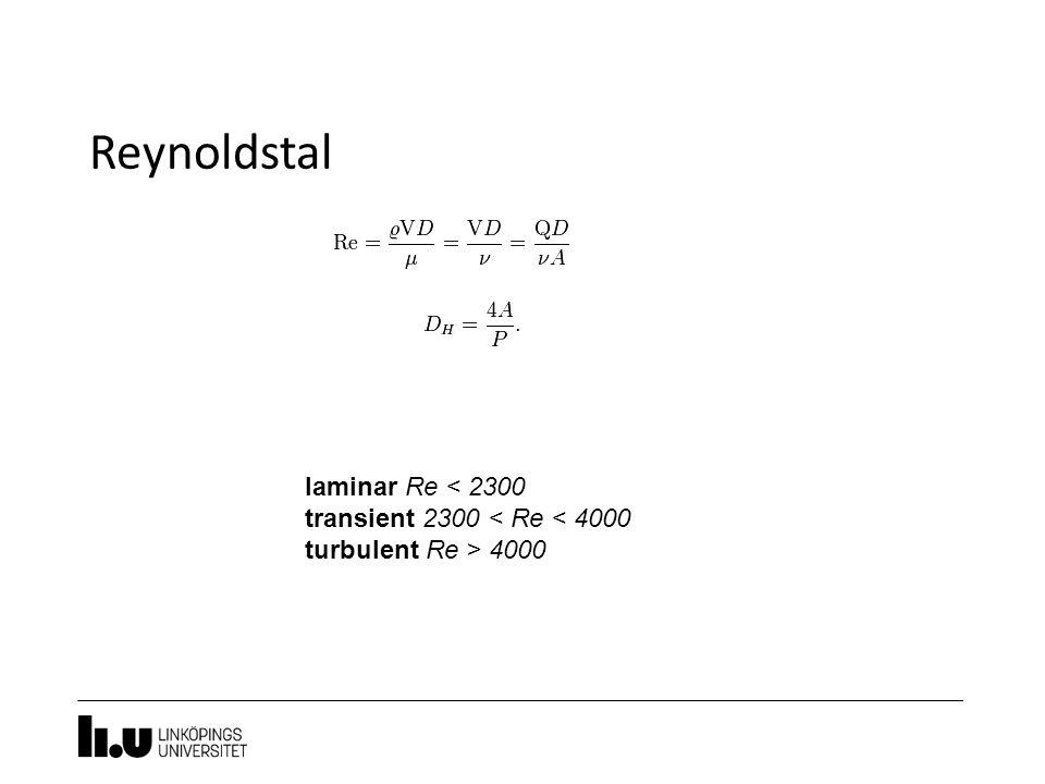 Reynoldstal laminar Re < 2300 transient 2300 < Re < 4000 turbulent Re > 4000
