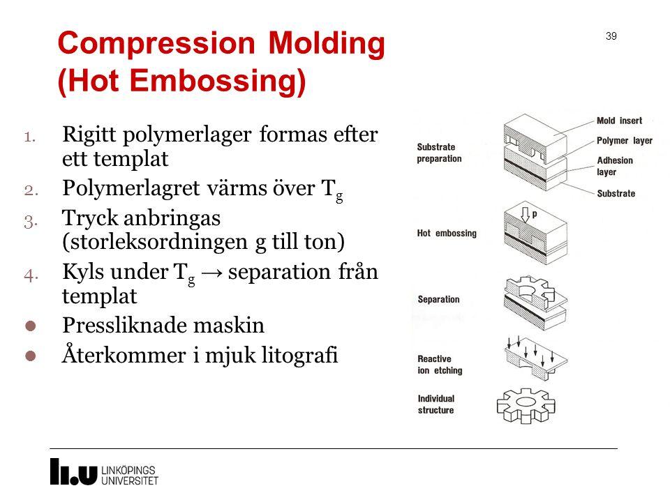 Microgjutning 38 Process där strukturer kan replikeras genom att använda polymera material som i visst tillstånd formar sig efter templatet.