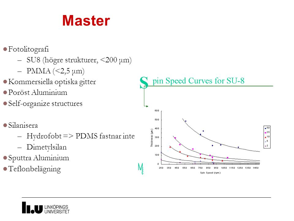 Master Fotolitografi –SU8 (högre strukturer, <200 μm) –PMMA (<2,5 μm) Kommersiella optiska gitter Poröst Aluminium Self-organize structures Silanisera –Hydrofobt => PDMS fastnar inte –Dimetylsilan Sputtra Aluminium Teflonbelägning
