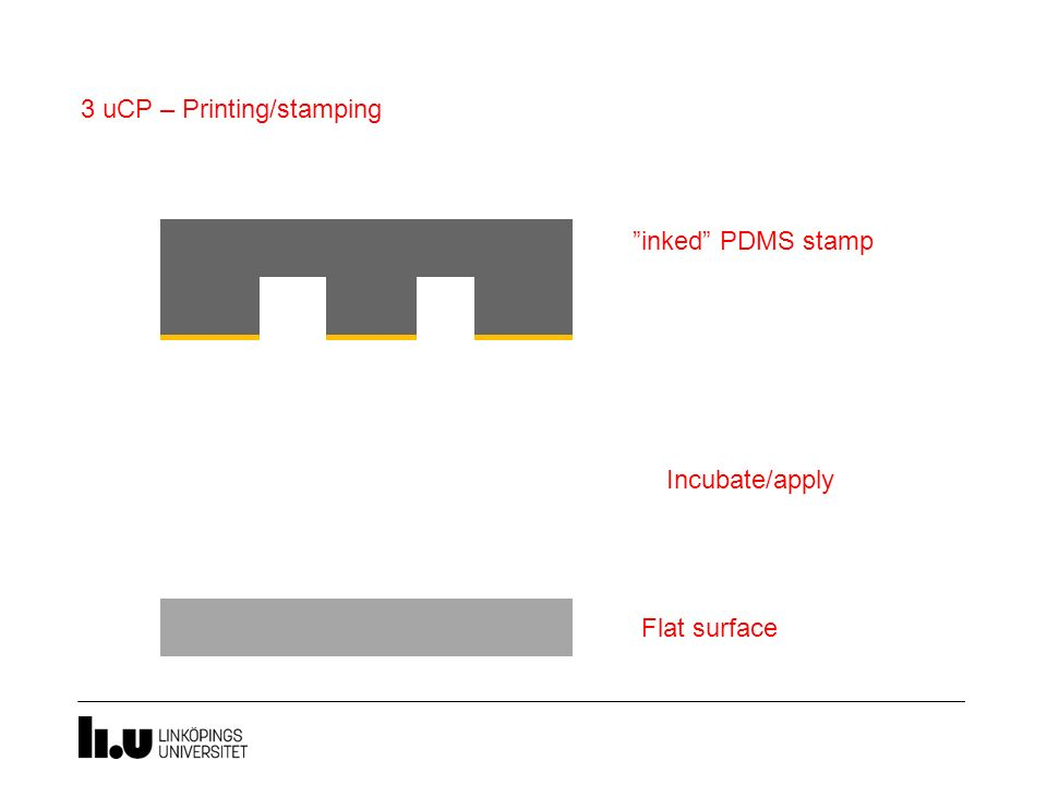 3 uCP – Printing/stamping Flat surface Incubate/apply pressure
