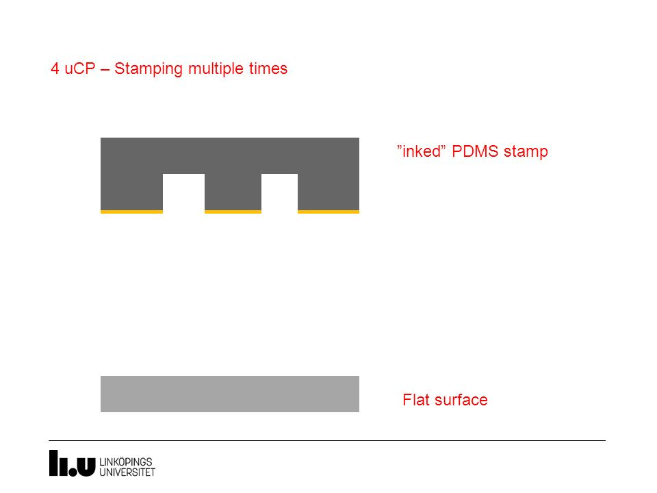 """inked"" PDMS stamp 4 uCP – Stamping multiple times Flat surface"