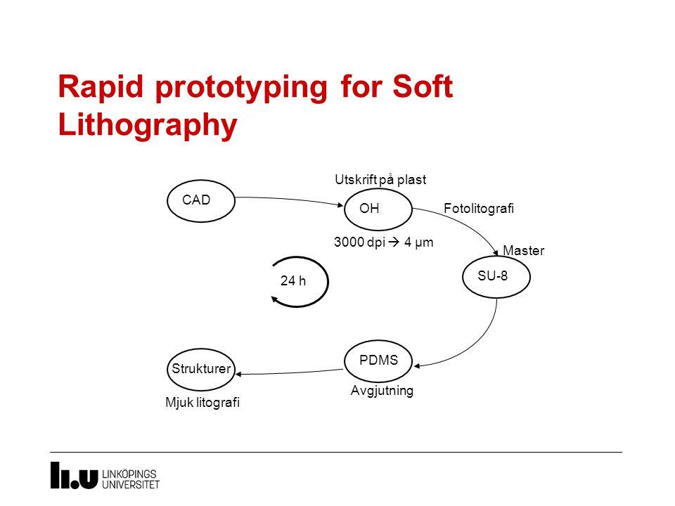 Rapid prototyping for Soft Lithography Avgjutning CAD SU-8 3000 dpi  4 µm PDMS 24 h Master Fotolitografi Utskrift på plast OH Mjuk litografi Strukturer