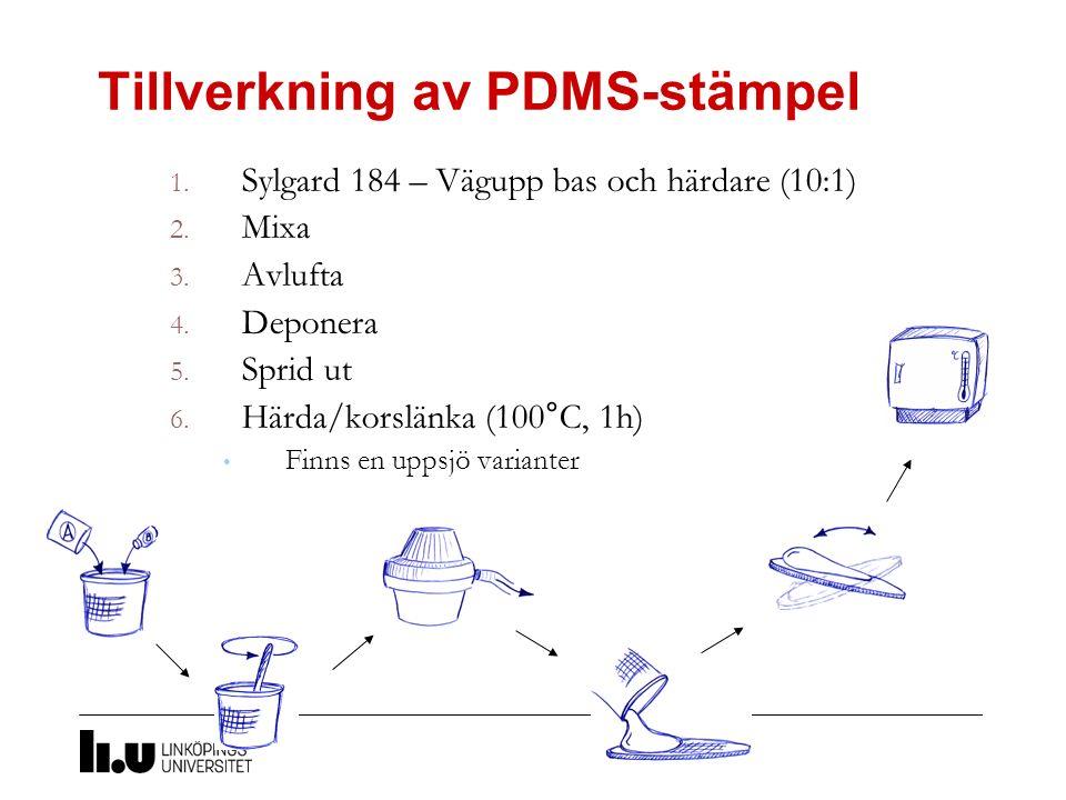 Tillverkning av PDMS-stämpel 1. Sylgard 184 – Vägupp bas och härdare (10:1) 2. Mixa 3. Avlufta 4. Deponera 5. Sprid ut 6. Härda/korslänka (100°C, 1h)