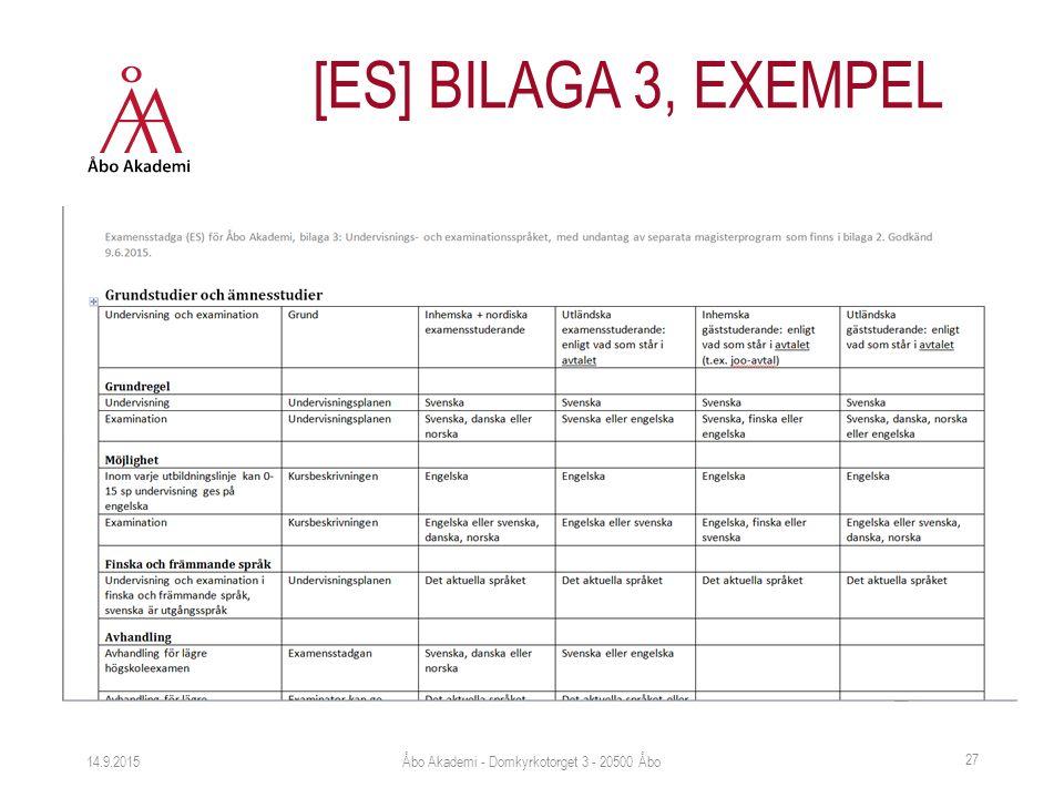 14.9.2015 [ES] BILAGA 3, EXEMPEL Åbo Akademi - Domkyrkotorget 3 - 20500 Åbo 27
