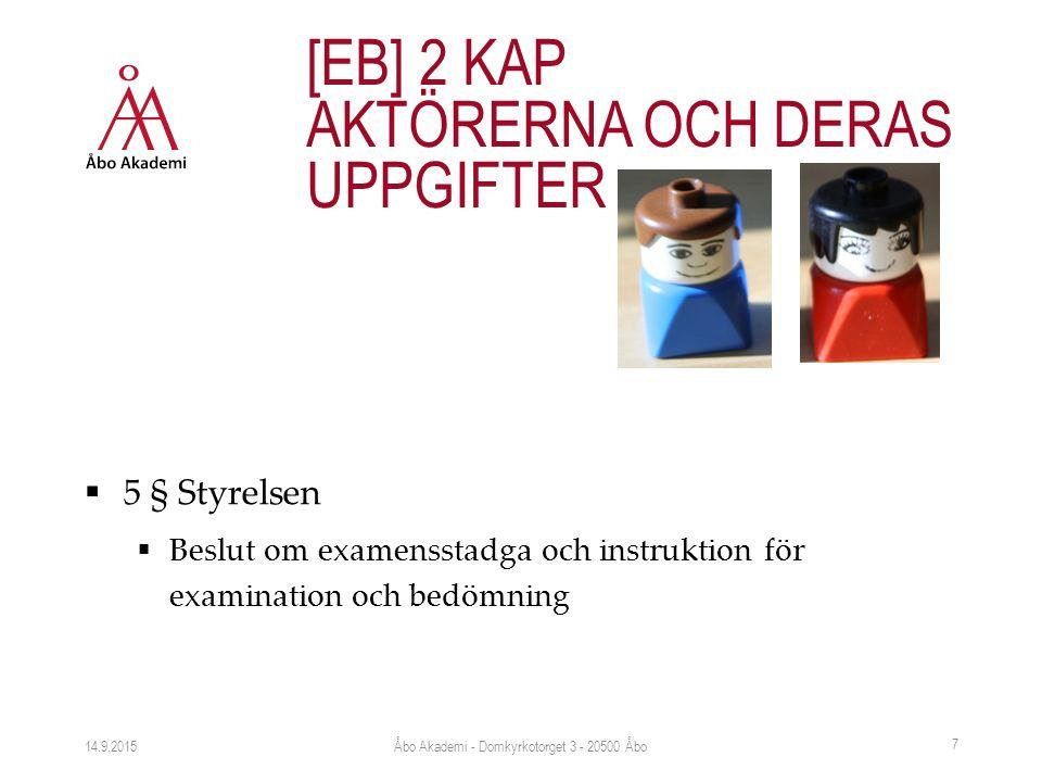  5 § Styrelsen  Beslut om examensstadga och instruktion för examination och bedömning 14.9.2015 [EB] 2 KAP AKTÖRERNA OCH DERAS UPPGIFTER Åbo Akademi - Domkyrkotorget 3 - 20500 Åbo 7