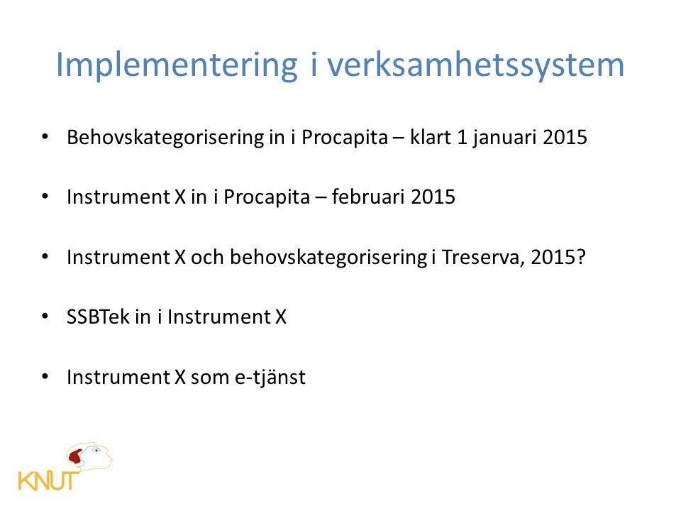Implementering i verksamhetssystem Behovskategorisering in i Procapita – klart 1 januari 2015 Instrument X in i Procapita – februari 2015 Instrument X och behovskategorisering i Treserva, 2015.
