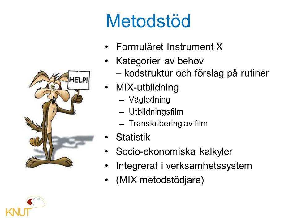 Metodstöd Formuläret Instrument X Kategorier av behov – kodstruktur och förslag på rutiner MIX-utbildning –Vägledning –Utbildningsfilm –Transkribering av film Statistik Socio-ekonomiska kalkyler Integrerat i verksamhetssystem (MIX metodstödjare)
