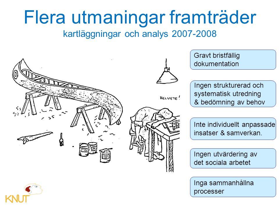 Flera utmaningar framträder kartläggningar och analys 2007-2008 Gravt bristfällig dokumentation Ingen strukturerad och systematisk utredning & bedömning av behov Inte individuellt anpassade insatser & samverkan.