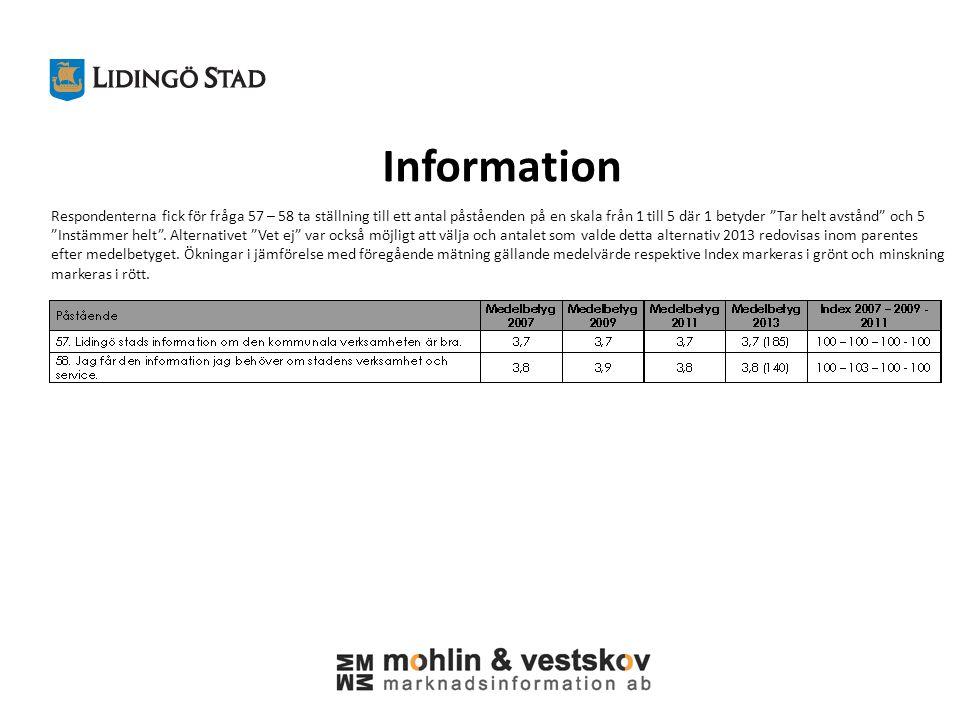 Information Respondenterna fick för fråga 57 – 58 ta ställning till ett antal påståenden på en skala från 1 till 5 där 1 betyder Tar helt avstånd och 5 Instämmer helt .