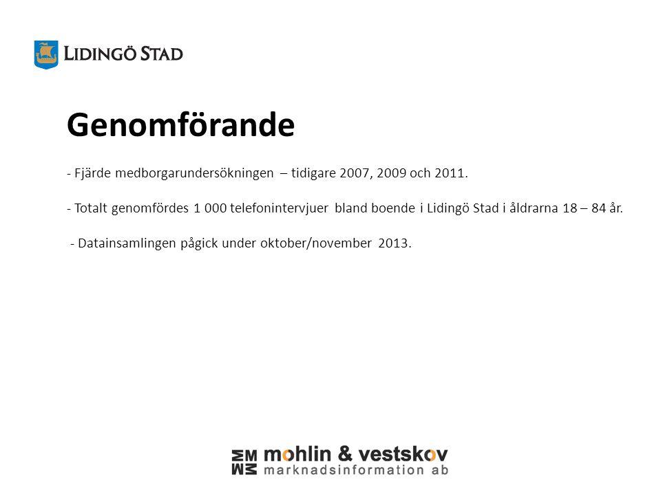 Genomförande - Fjärde medborgarundersökningen – tidigare 2007, 2009 och 2011.