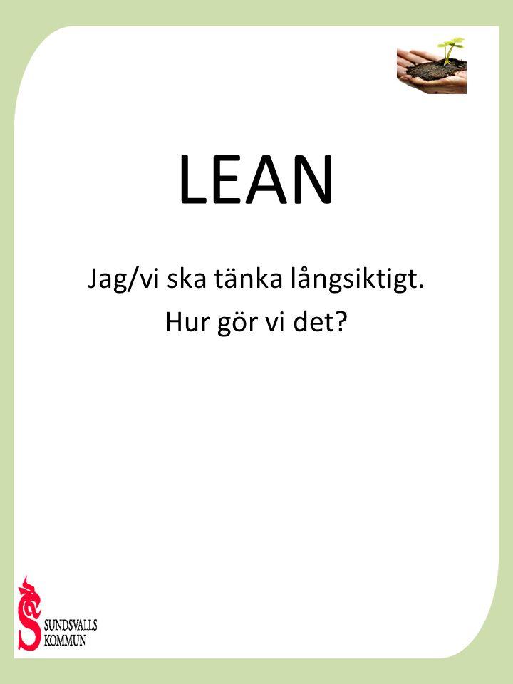 LEAN Jag/vi ska tänka långsiktigt. Hur gör vi det?