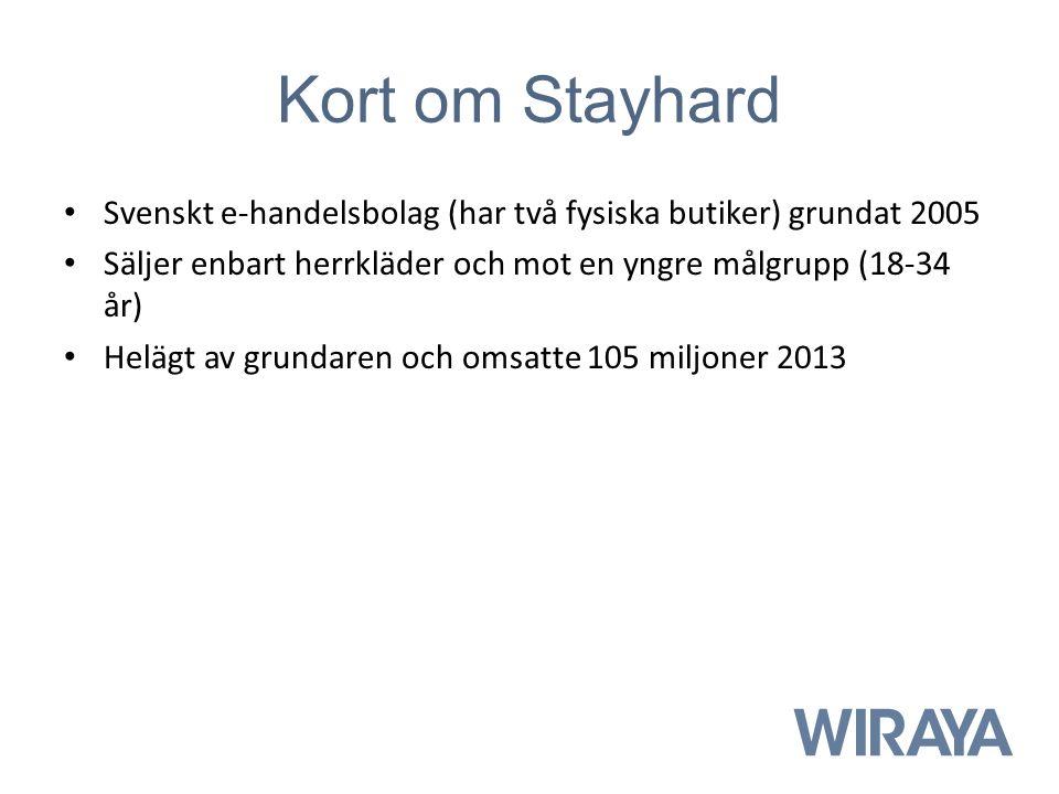Kort om Stayhard Svenskt e-handelsbolag (har två fysiska butiker) grundat 2005 Säljer enbart herrkläder och mot en yngre målgrupp (18-34 år) Helägt av grundaren och omsatte 105 miljoner 2013