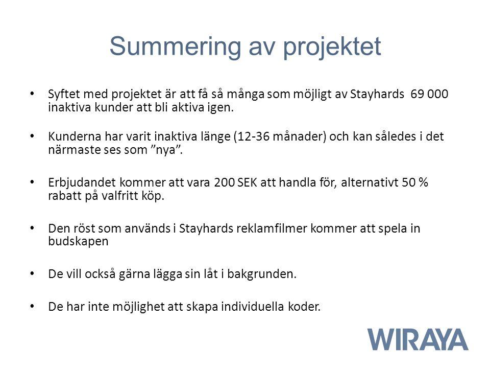 Summering av projektet Syftet med projektet är att få så många som möjligt av Stayhards 69 000 inaktiva kunder att bli aktiva igen. Kunderna har varit
