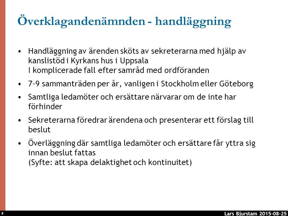 8 Överklagandenämnden - handläggning Handläggning av ärenden sköts av sekreterarna med hjälp av kanslistöd i Kyrkans hus i Uppsala I komplicerade fall efter samråd med ordföranden 7-9 sammanträden per år, vanligen i Stockholm eller Göteborg Samtliga ledamöter och ersättare närvarar om de inte har förhinder Sekreterarna föredrar ärendena och presenterar ett förslag till beslut Överläggning där samtliga ledamöter och ersättare får yttra sig innan beslut fattas (Syfte: att skapa delaktighet och kontinuitet) Lars Bjurstam 2015-08-25