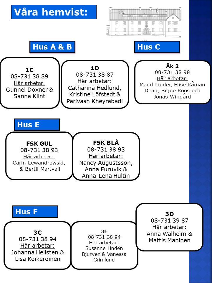3C 08-731 38 94 Här arbetar: Johanna Hellsten & Lisa Koikeroinen 3E 08-731 38 94 Här arbetar: Susanne Lindén Bjurven & Vanessa Grimlund 3D 08-731 39 8