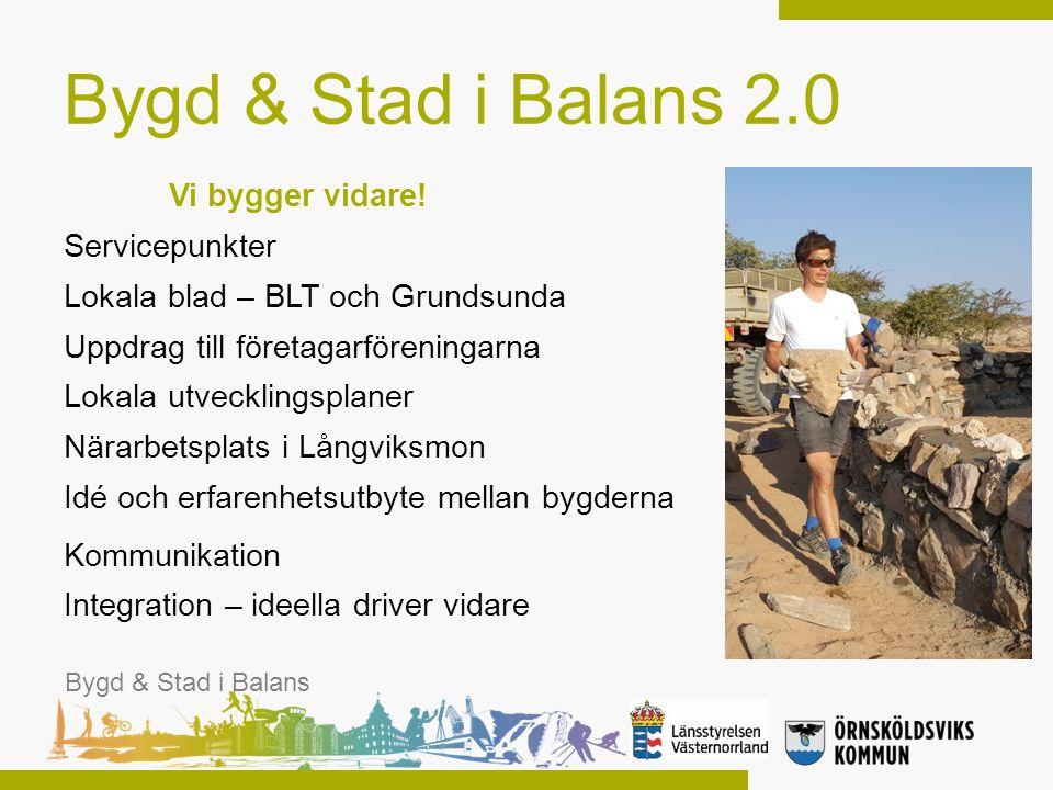 Bygd & Stad i Balans 2.0 Vi bygger vidare! Servicepunkter Lokala blad – BLT och Grundsunda Uppdrag till företagarföreningarna Lokala utvecklingsplaner
