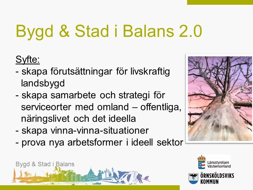 Syfte: - skapa förutsättningar för livskraftig landsbygd - skapa samarbete och strategi för serviceorter med omland – offentliga, näringslivet och det